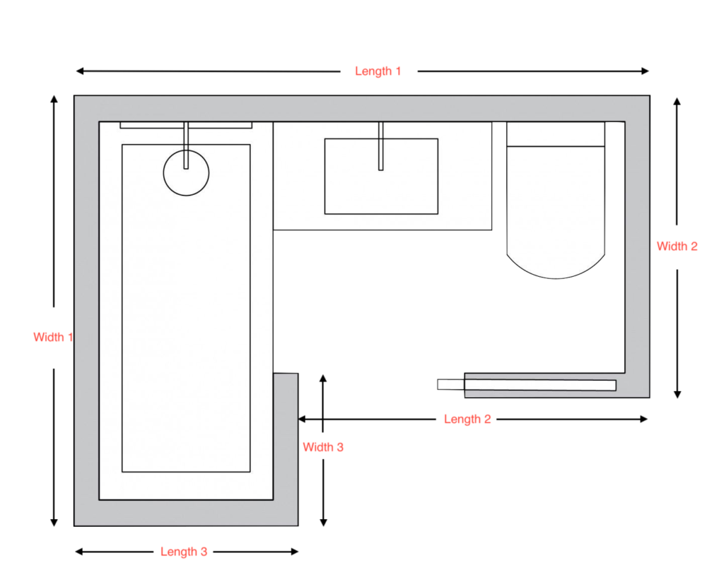 Typical L-shaped bath/shower room